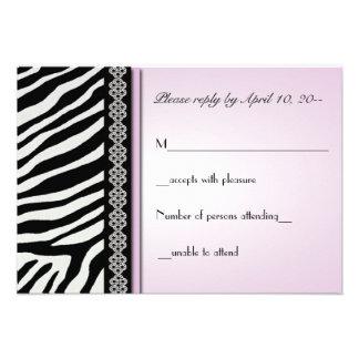 Animal Print ZEBRA Wedding RSVP / Reply Cards