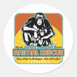 Animal Rescue Chimpanzee Classic Round Sticker