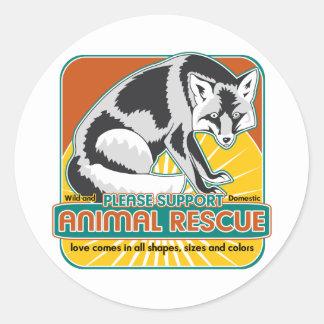 Animal Rescue Fox Round Sticker