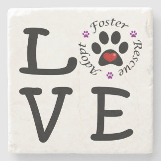 Animal Rescue Love Marble Stone Coaster