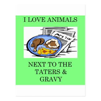 animal rights food police joke postcard