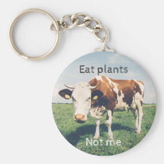 Animal rights, key ring with a cow, for vegetarian basic round button keychain