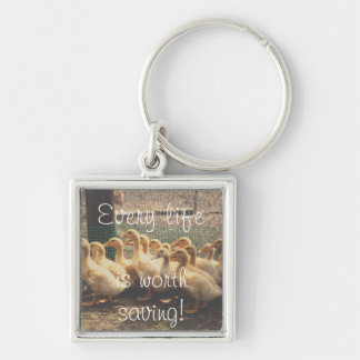 Animal rights, key ring with ducks for vegetarian Silver-Colored square keychain