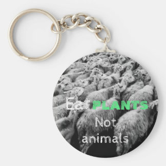 Animal rights, key ring with sheep, for vegetarian basic round button keychain