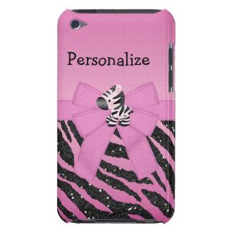 Animal rose de zèbre, d'arc et de scintillement coque iPod touch