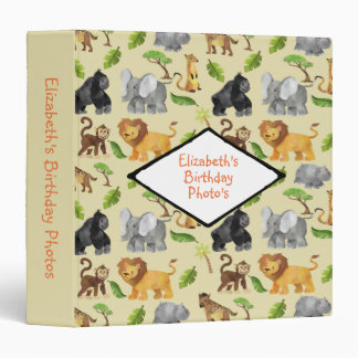 Animal Safari Jungle Pattern Birthday Photo Binders