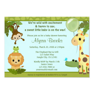 Animal SAFARI PARTY baby shower invitation monkey