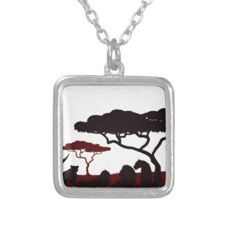 Animal Silhouette African Safari Landscape Scene Silver Plated Necklace