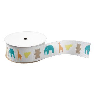 Animal Silhouette Baby Shower Ribbon Neutral Grosgrain Ribbon