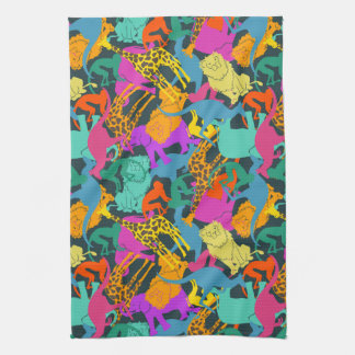 Animal Silhouettes Pattern Kitchen Towel
