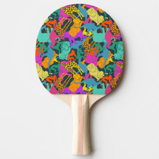 Animal Silhouettes Pattern Ping Pong Paddle