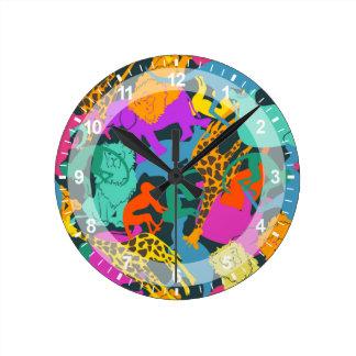 Animal Silhouettes Pattern Round Clock