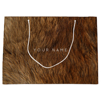 Animal Skin Brown Abstract Bear Minimal Large Gift Bag