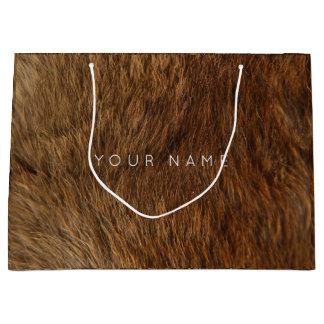 Animal Skin Brown Abstract Bear Minimal Large Gift Bag