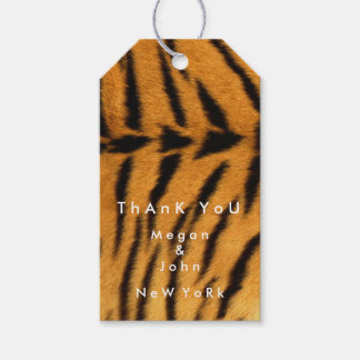 Animal Skin Brown Black Fur Tiger Name Thank You Gift Tags