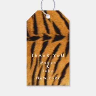 Animal Skin Brown Black Fur Tiger Name Thank You Pack Of Gift Tags