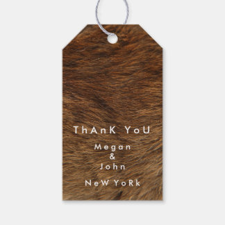 Animal Skin Brown Fur Bear Name Custom Thank Pack Of Gift Tags