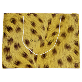 Animal Skin Brown Mustard Yellow Fur Glam Lampard Large Gift Bag