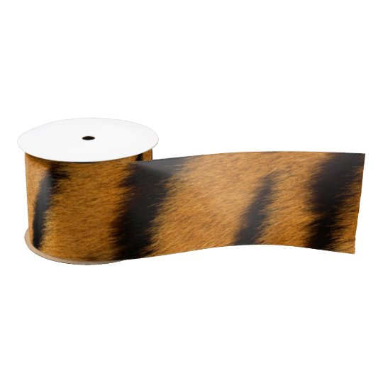 Animal Skin Brown Tiger Fur Minimal Satin Ribbon