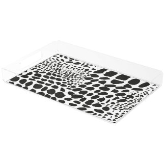Animal Skin in Black and White Acrylic Tray