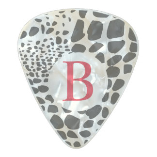 Animal Skin in Black and White Pearl Celluloid Guitar Pick