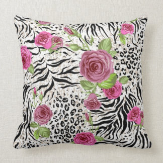 Animal Skin Print And Roses Throw Pillow