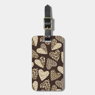 Animal skin with hearts luggage tag