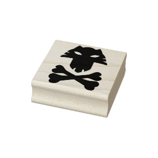 Animal skull with crosssbones silhouette art stamp