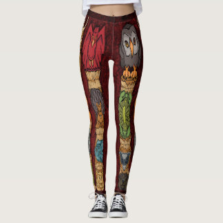 Animal Totem Pole Leggings - Red Background