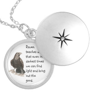 Animal Totem Raven Inspirational Nature Guide Silver Plated Necklace