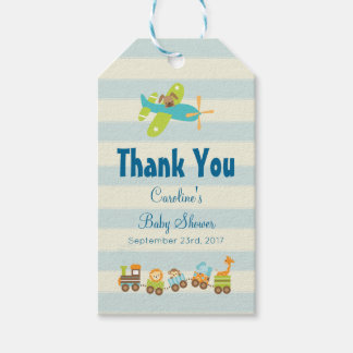 Animal Toy Train and Airplane Baby Shower Thanks Gift Tags