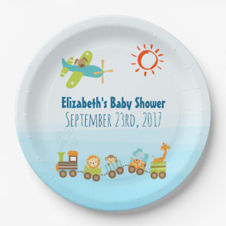 Animal Toy Train and Airplane Boy Baby Shower Paper Plate