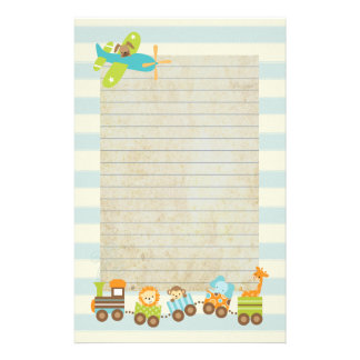 Animal Toy Train and Airplane on Stripes Stationery