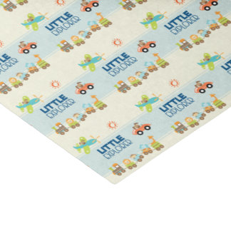 Animal Toy Train Car and Airplane on Stripes Tissue Paper