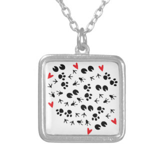Animal Tracks Silver Plated Necklace