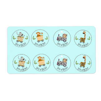 Animal Train Chocolate Kiss Favour Stickers Shipping Label