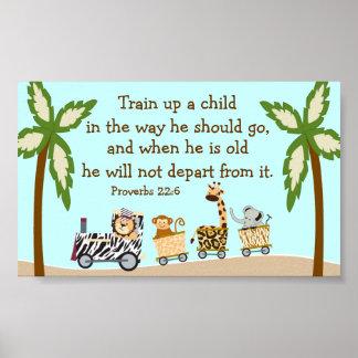 Animal Train Christian Bible Verse Wall Poster