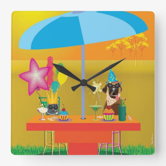 Animal wall clock - Party for two