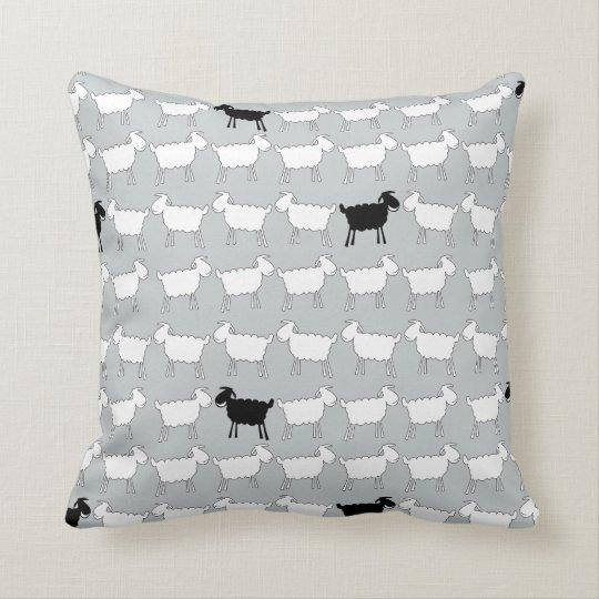 Animal white sheep & the black sheep throw pillow