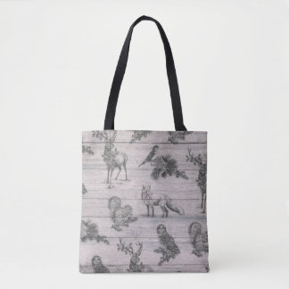 Animal wood country rustic winter tote bag