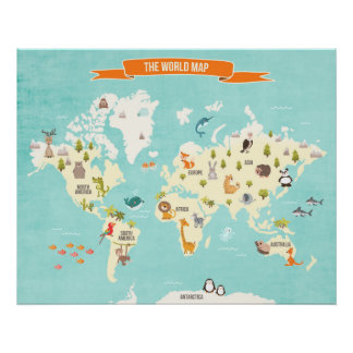World map posters zazzle canada animal world poster world map wall decal kids gumiabroncs Choice Image