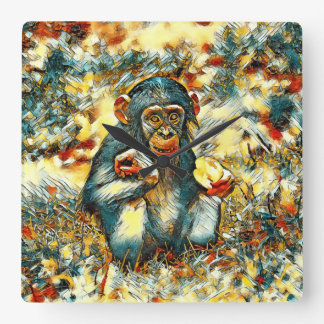 AnimalArt_Chimpanzee_20170603_by_JAMColors Square Wall Clock