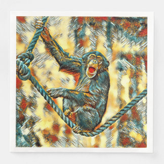 AnimalArt_Chimpanzee_20170901_by_JAMColors Paper Dinner Napkin