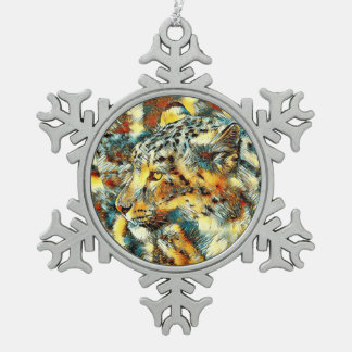 AnimalArt_Leopard_20170606_by_JAMColors Snowflake Pewter Christmas Ornament