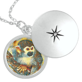 AnimalArt_Monkey_20170601_by_JAMColors Sterling Silver Necklace