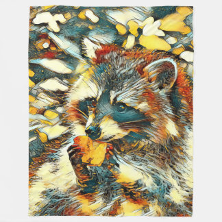 AnimalArt_Raccoon_20170601_by_JAMColors Fleece Blanket