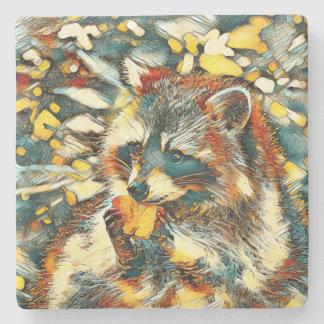 AnimalArt_Raccoon_20170601_by_JAMColors Stone Coaster