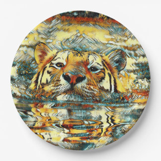 AnimalArt_Tiger_20170601_by_JAMColors 9 Inch Paper Plate
