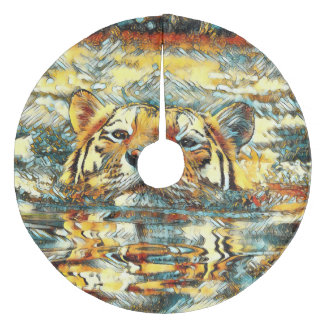 AnimalArt_Tiger_20170601_by_JAMColors Fleece Tree Skirt