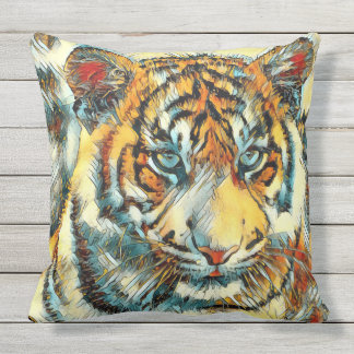 AnimalArt_Tiger_20170611_by_JAMColors Outdoor Pillow